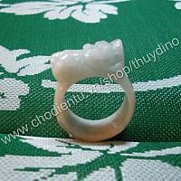 Nhẫn Tỳ Hưu cẩm thạch trắng