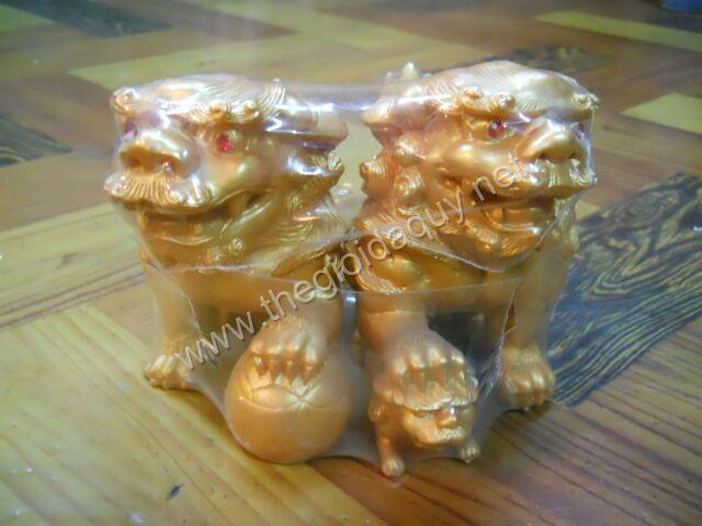 Cặp Kỳ Lân bột đá xi vàng