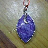 Mặt dây chuyền bạc hình lá đá Sugilite