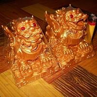 Cặp Kỳ Hưu đế vương bột đá vàng