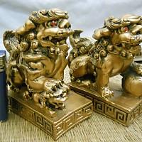 Cặp Kỳ lân đế vương lớn bột đá xi vàng