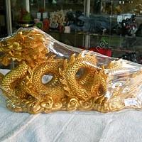 Tượng rồng vàng đoạt châu lớn bột đá