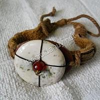 Vòng tay da Đồng điếu đá chalcedony