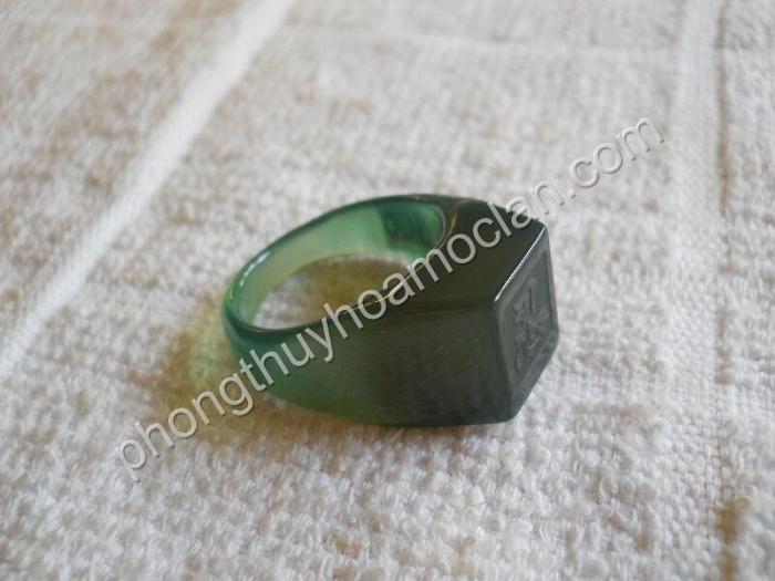 Nhẫn Tài Lộc mã não xanh