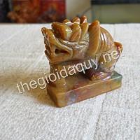 Sư Tử Merlion đá Chalcedony vàng xanh
