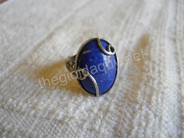 Nhẫn bạc đá lapis lazuli oval