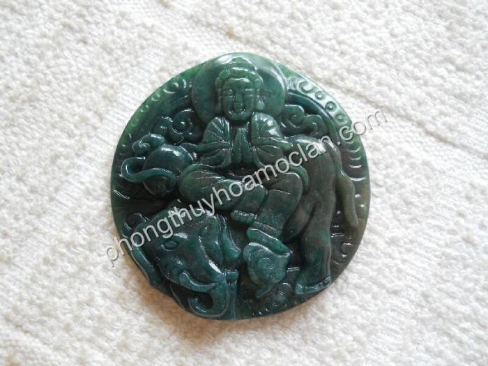 Phổ Hiền Bồ Tát đá chalcedony xanh