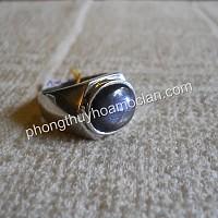 Nhẫn bạc nam đá Sapphire 2 sao