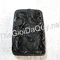 Mặt Quan Công đại giáp đá Obsidian