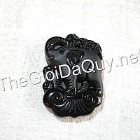 Mặt Voi cõng tiền Như ý đá Obsidian